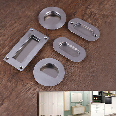 Rectangular Drawer - Stainless steel door handle flush recessed pull circular oval rectangular~drawer