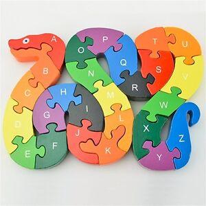 26pcs Alphabet Wooden Puzzle Jigsaw Kids Number Block Preschool Snake Toy WD