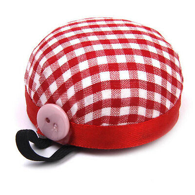 Red Plaid Grids Needle Sewing Pin Cushion Wrist Strap Tool Button Storage NiCH