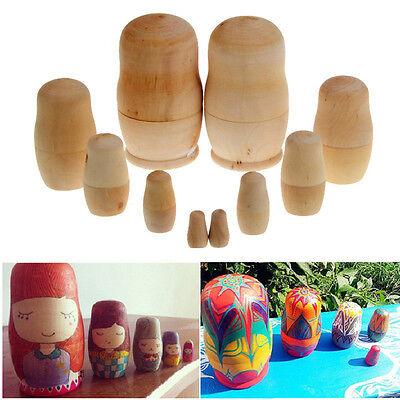 5Pcs/set Unpainted Nesting Dolls Wooden DIY Blank Embryos Matryoshka ToyBLUS
