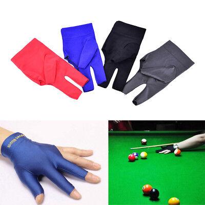 blue Spandex Snooker Billiards Glove Pool Left Hands Open Three Finger AcceCC