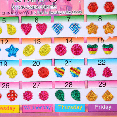 1Sheet Colorful Kid Crystal Stick Earring Sticker Kids Jewellery Party Toy Du - Sticker Earrings