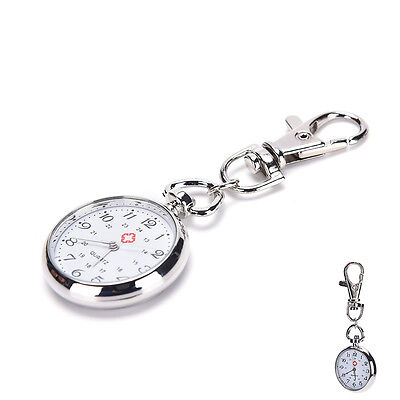Stainless Steel Quartz Pocket Watch Cute Key Ring Chain Gift FO