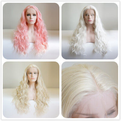 60CM Pink/ White/ Light Blonde Long Curly Fluffy Fashion Everyday Lace Front - Long White Blonde Wig