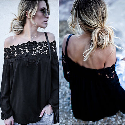 Women Summer Off Shoulder Lace Long Sleeve Top Casual Boat Neck Blouse Daily Top