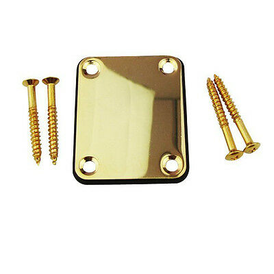 - Neck Plate with 4 Screws Replacement Part for Fender Strat Electric Guitar