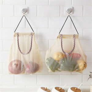 Vegetable Onion Potato Hanging Bag Kitchen Garlic Ginger Mesh Storage Bag new.