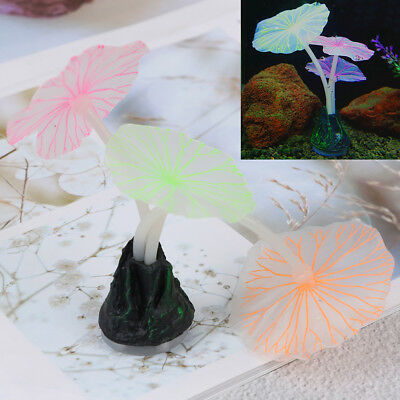Aquariums accessory artificial coral reef glowing fish tank lotus leaf lumino Hs
