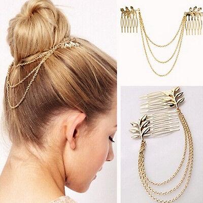 Große Womens Strass Metall Kopf Kette Stirnband Kopfband Haarband Schmuck YR