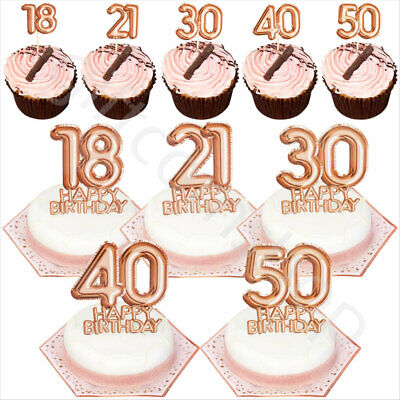 hday Cake Cupcake Toppers Picks Decoration 18/21/30/40/50 (Happy Birthday Cupcakes)