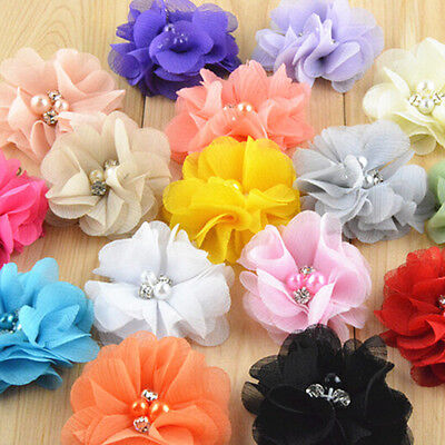 20pcs DIY Baby Girls Hair Pearl Chiffon Flower For Headbands Corsage No Clip SG