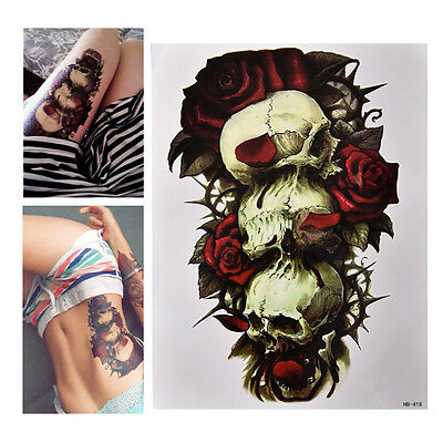 Skull And Roses Tattoo Sleeve (Waterproof Skull and Rose Temporary Tattoo Large Arm Body Art Tattoos Sticker)