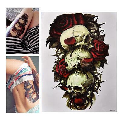 Waterproof Skull and Rose Temporary Tattoo Large Arm Body Art Tattoos Sticker JH - Skull And Roses Tattoo Sleeve