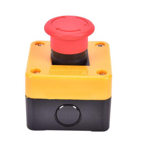 Red Mushroom Cap 1NO 1NC DPST Emergency Stop Push Button Switch AC 660V 10A S HB