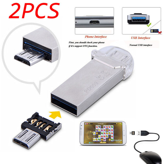 2X Micro USB Male to USB Female OTG Adapter Converter For Android Tablet Phone B