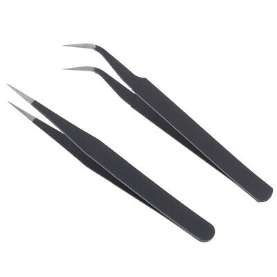 1pc Micro Point Curved Straight Tweezers Fine Tip Stainless Stelu