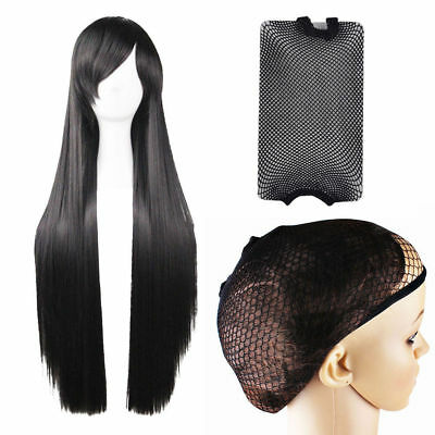 Straight Wigs Cosplay Hair Accessories Long  Wig Headwear for Kid+2 Pc Hair Net](Black Wigs For Kids)