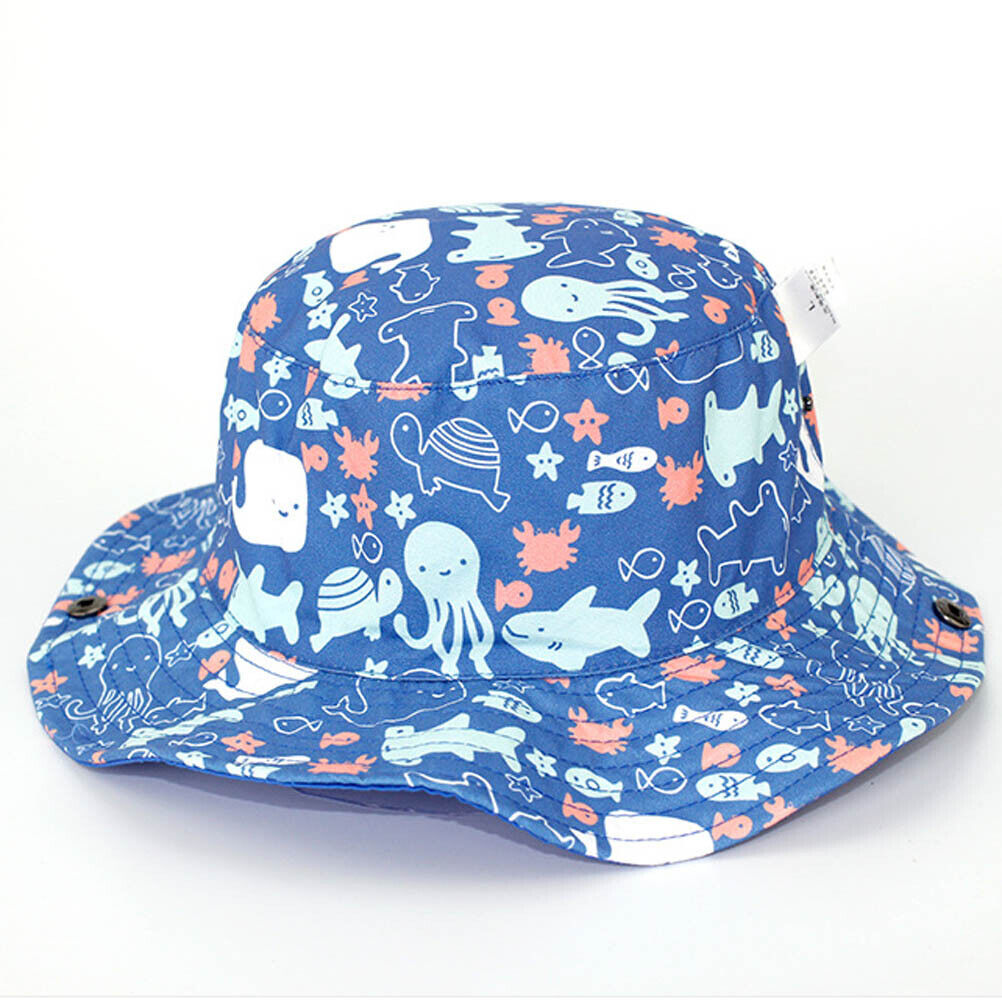 Boy Girl Cotton Animals Zoo Bucket Cowboy Sun Hat with Chin Strap Age 2 3 4 5 6