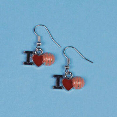 Earrings Pierced Fish Hook Dangle I Love Basketball Red Heart Blue I Tan Ball