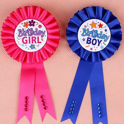 Birthday Girl Boy Award Ribbon Rosette Badge Pin Children's Party Favor ca (Birthday Girl Pin)