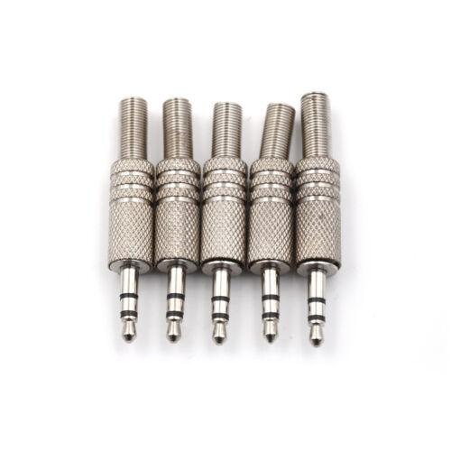 5pcs 3.5mm 3Pole Headphone Replacement Audio Jack Male Plug Soldering Connect VI