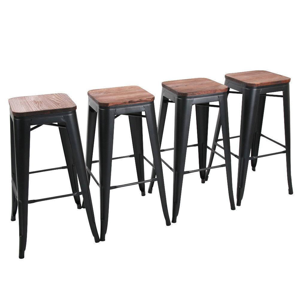 4 Metal Steel 30'' Bar Stool High Counter Top Barstool Woode