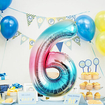 Number 1 Balloons (1pc Ballon Digital Number Foil Balloons Rainbow Color DigitBirthday Party)