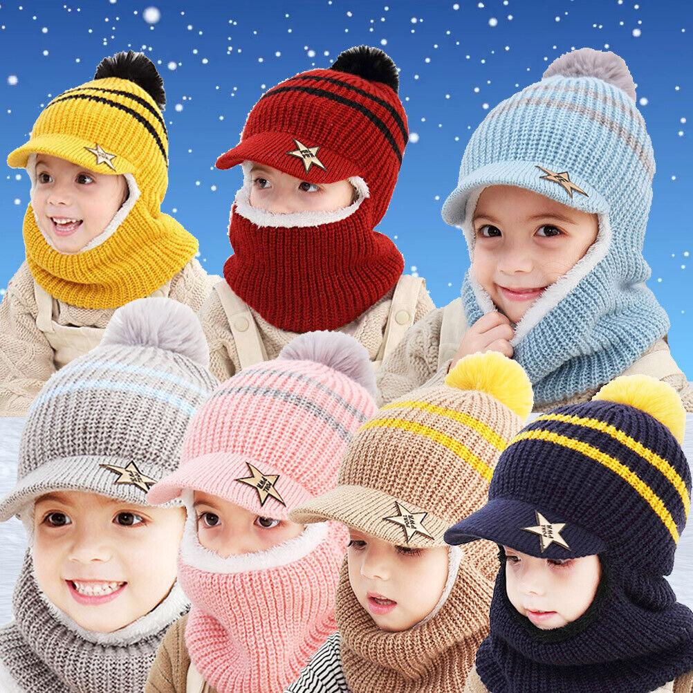 Warm Fleece Lining Caps Balaclava Hat Scarf PomPom Beanie Hat Boy Girl Baby Hat