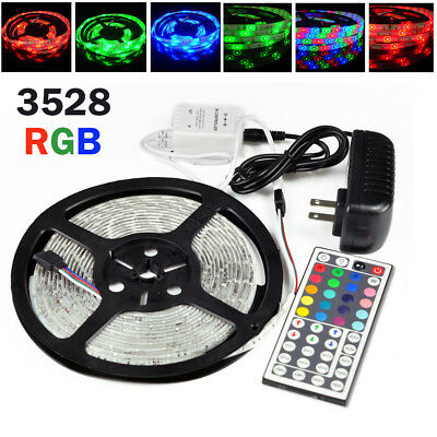 5M Waterproof 3528 RGB SMD 300 Flexible LED Strip Rope Lights 12V Power Supply - Halloween Wedding Supplies