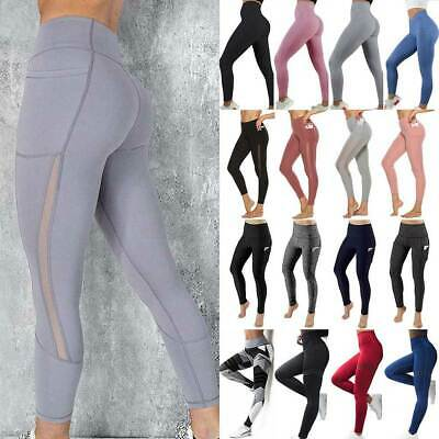 Women High Waist Yoga Pants Butt Lift Leggings Pockets Workout Ruched Trousers