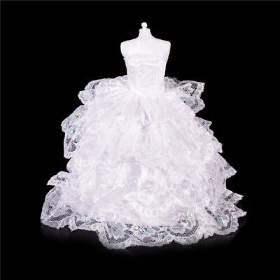 White Handmade Wedding PartyBridal Princess Gown Dress Clothes for Barbie DollGY