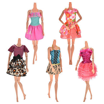 5 Pcs Handmade Wedding Dress Party Gown Clothes Outfits For  Doll Gift TS