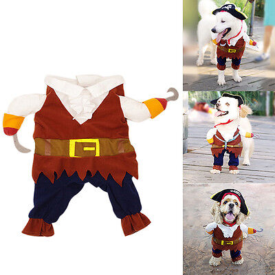 Pet Small Dog Cat Pirate Costume Outfit Jumpsuit  Cloth for Halloween FTUK (Pirate Costume For Dogs)