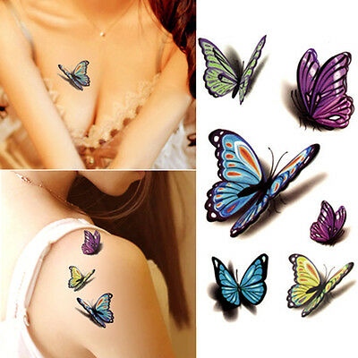 Colorful Butterfly Tattoos (Hot Waterproof Temporary Tattoo Sticker Colorful Butterfly  Fake Tattoos)
