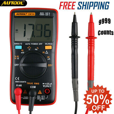 Digital Multimeter True Rms Auto Range Acdc Voltage Current 9999 Counts Tester