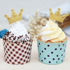 Wedding cupcake toppers ebay 50pcs gold crown cupcake topperswedding picksparty picksfood pick lovely junglespirit Choice Image