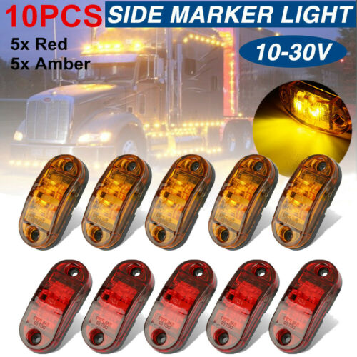 5x Amber+ 5x Red LED Car Truck Trailer RV Oval 2.5″ Side Clearance Marker Lights Car Electronics Accessories