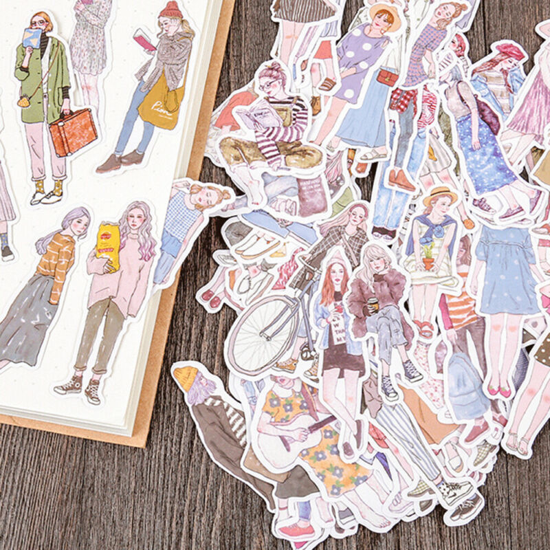 100Pcs/pack lovely girls stickers scrapbook DIY diary albums