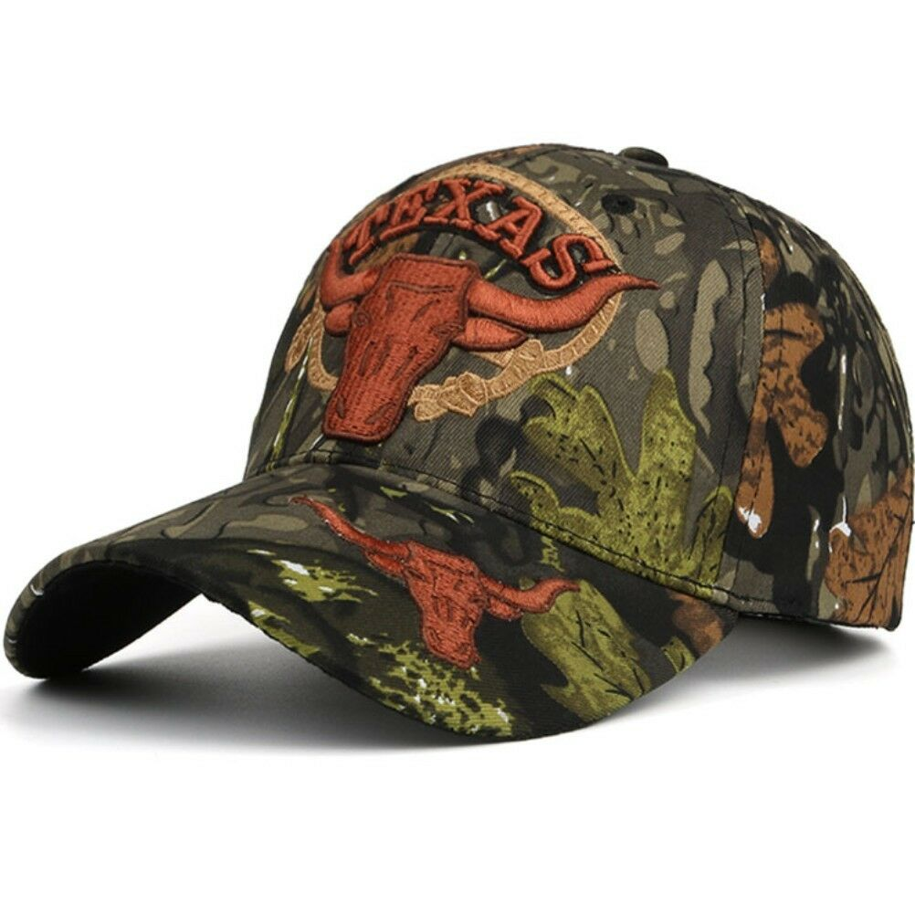 a7512590c186f Details about Camouflage Baseball Cap Adjustable TEXAS Embroidery Hunter  Fishing Dad Hat