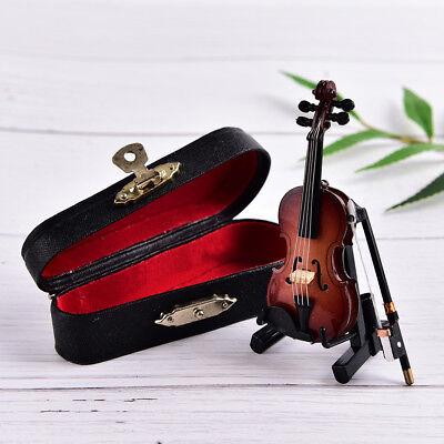 Wooden Musical Instrument - Mini Violin Miniature Musical Instrument Wooden Model with Support and Case NIUS