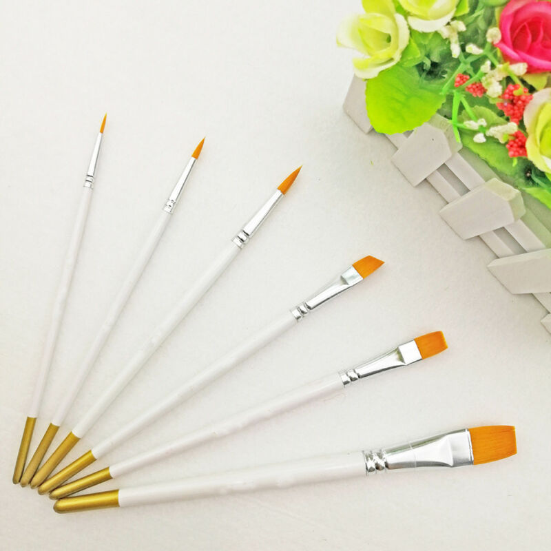 6Pcs Art Painting Brushes Set Acrylic Oil Watercolor Artist Paint Brush KW