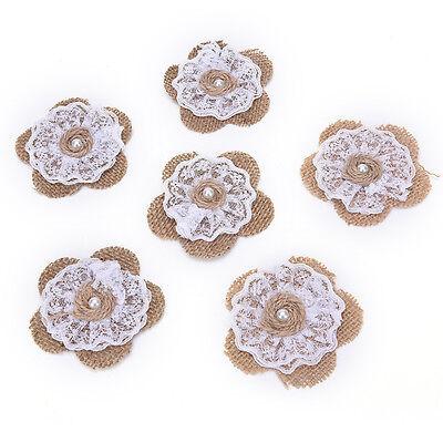 HandmadeJute Sackleinen Blume mit Spitze Rose DIY rustikale Hochzeit WeihnachZJP ()