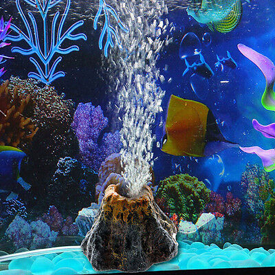 Aquarium Volcano Shape & Air Bubble Stone Oxygen Pump Fish Tank Ornament Deco NH
