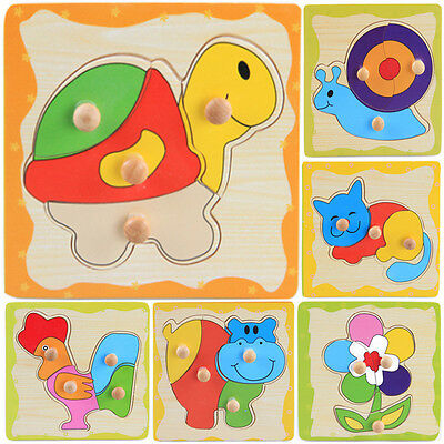 1 Pcs Wooden Puzzle Jigsaw Cartoon Kids Baby Educational Learning Puzzle Toys JH