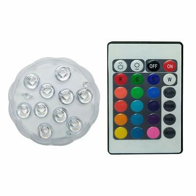 Linterna 10 Led Acuática Cambia de Color Sumergible Piscina Acuario Posavasos