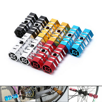2X Bike Pedals Aluminum Alloy Axles BMX  Pedal Bicycle Stunt Foot Peg Gut