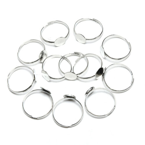 20PCS 8mm Silver Plated Adjustable Flat Ring Base Blank Jewelry  Findi SE