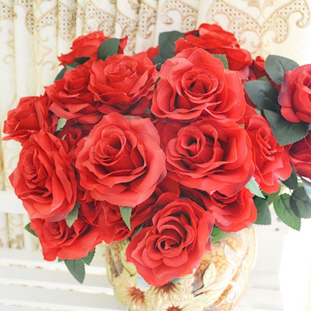 Redpink 10 Heads Artificial Rose Silk Flowers Flower Floral Fake