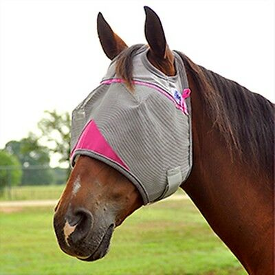 CASHEL CRUSADER COOL FLY MASK STANDARD HORSE PINK TRIM sun protection flies off