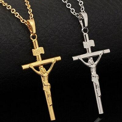 Unisex Gold Silber vergoldet Jesus Christian Gebet Kreuz Anhänger Halskette R G4